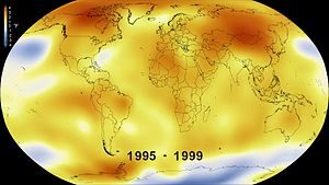 Fig. 1 - da un Video NASA e NOAA del riscaldamento climatico (1995-1999)